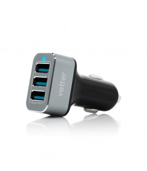 Fast Car Charger 5.2A | 3 x USB Smart Ports | Black