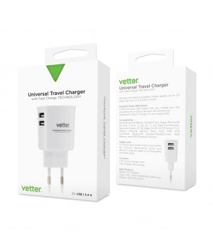 Universal Travel Charger, 2 x USB, 3.4A, White