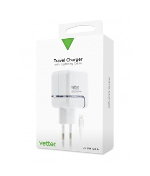 iPhone 6s, 6, 5SE, 5S, 5, 5c Travel Charger | 2.4A Dual USB with Lighting Cable | White