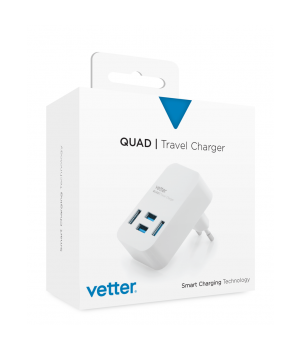 Quad Travel Charger, 4 x USB, 4A, White