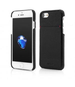 iPhone 7 | Clip-On with Card Port | Genuine Leather Slim | Black