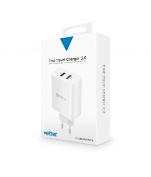 Fast Travel Charger, with Quick Charge 3.0 and Smart Port, White