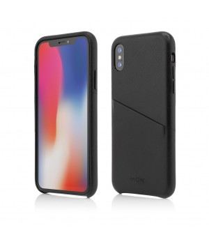 iPhone XS, X | Clip-On Genuine Leather with Card Holder | Black