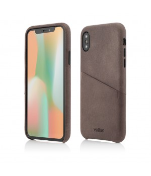 iPhone XS, X | Clip-On Genuine Leather with Card Holder | Coffee