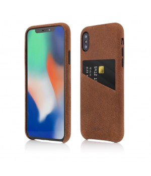 iPhone XS, X | Clip-On Genuine Leather with Card Holder | Brown