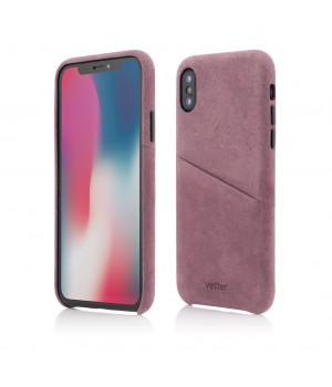 iPhone XS, X | Clip-On Genuine Leather with Card Holder | Fuchsia