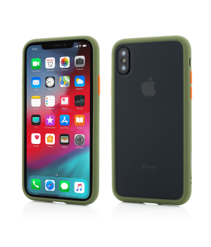 iPhone Xs, X, Clip-On Hybrid Protection, Shockproof Soft Edge and Rigid Matte Back Cover, Olive