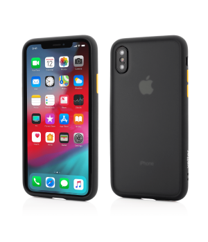 iPhone Xs Max, Clip-On Hybrid Protection, Shockproof Soft Edge and Rigid Matte Back Cover, Black