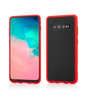 Samsung Galaxy S10, Clip-On Hybrid Protection, Shockproof Soft Edge and Rigid Matte Back Cover, Red