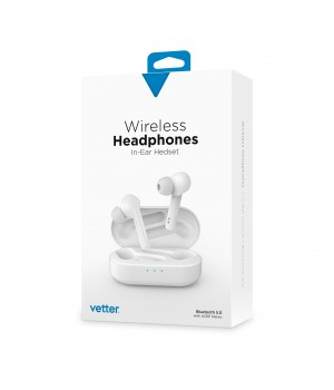 Wireless Headphones, Bluetooth 5.0, In-Ear Headset, White