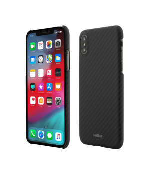 iPhone XS, X, Clip-On Ultra Slim, Made from Aramid Fiber, Kevlar, Magnetic, Black
