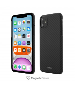 iPhone 11, Clip-On Ultra Slim, Made from Aramid Fiber, Kevlar, Magnetic, Black