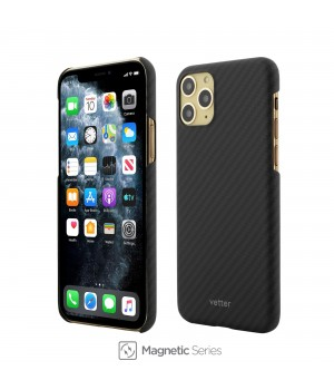 iPhone 11 Pro, Clip-On Ultra Slim, Made from Aramid Fiber, Kevlar, Magnetic, Black