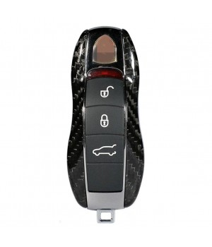 Case for Porsche Key with 3 Button Layout, made from Carbon, Glossy Black