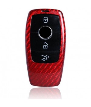 Case for Mercedes-Benz Key from 2016, made from Carbon, Glossy Red