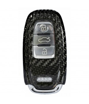 Case for Audi Key A1, A3, A4, Q5, Q7, made from Carbon, Glossy Black