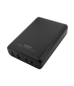 Smart Charging Station, 2 x PD USB-C up to 100W, 2 x Quick Charge 3.0, Black