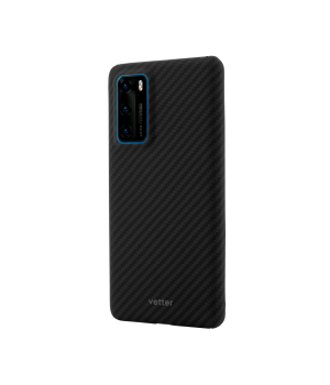 Huawei P40, Clip-On Ultra Slim, made from Aramid Fiber, Kevlar, Magnetic, Black