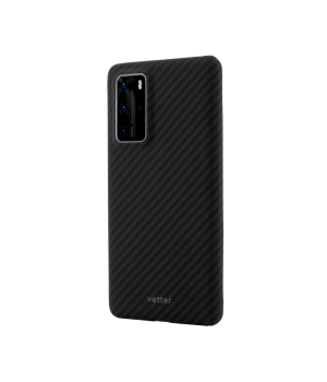 Huawei P40 Pro, Clip-On Ultra Slim, made from Aramid Fiber, Kevlar, Magnetic, Black